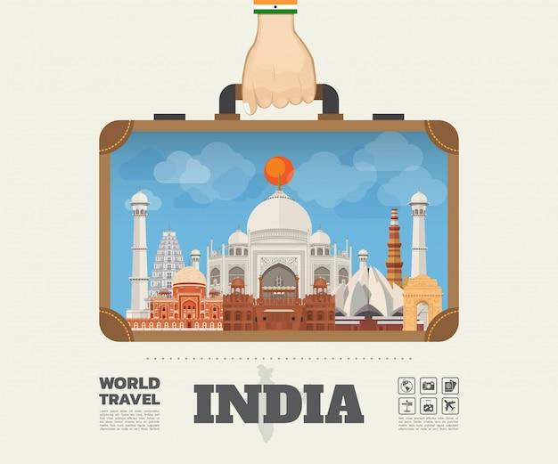 Hand, die indien-markstein-globale reise und reise infographic-tasche trägt. vektor-flache design-schablone vektor / illustration kann für ihre fahne, geschäft, bildung, website oder jede mögliche grafik verwendet werden Premium Vektoren