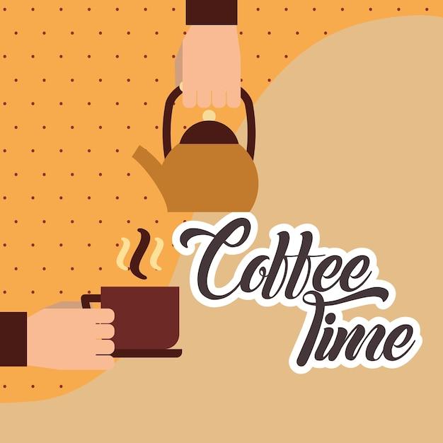 Hand, die Kessel und heiße Kaffeetasse hält | Download der Premium ...