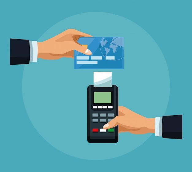 Hand, die kreditkarte zum dataphone übergibt Premium Vektoren