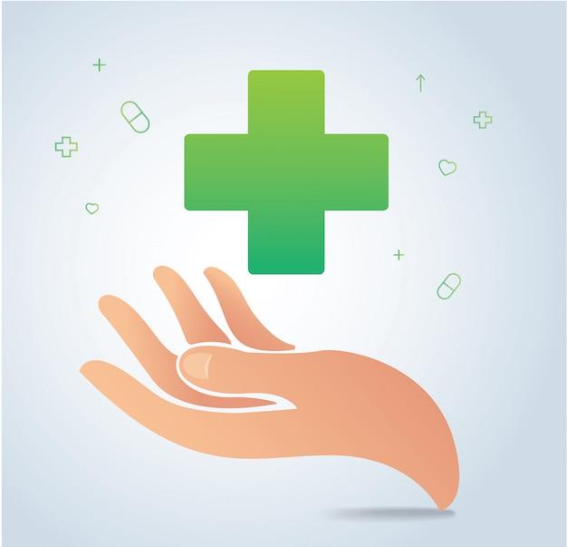 Hand, die medizinische ikone hält Premium Vektoren