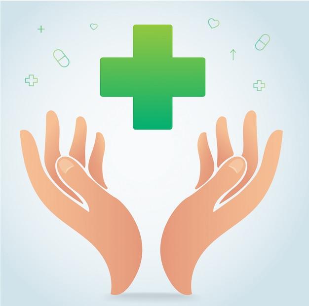 Hand, die medizinischen krankenhausikonen-symbolvektor hält Premium Vektoren