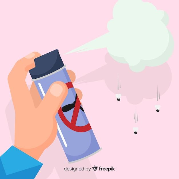 Hand, die moskitospray im flachen design hält Kostenlosen Vektoren