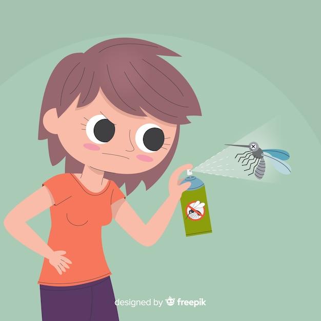Hand, die mückenspray in der flachen art hält Kostenlosen Vektoren