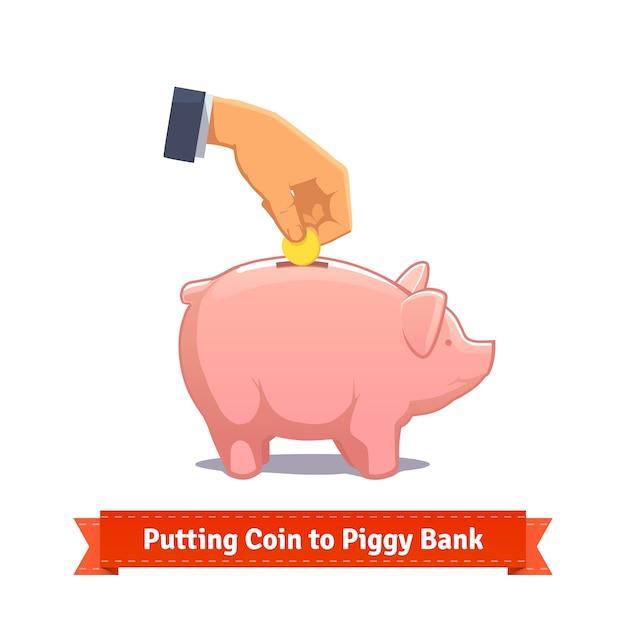 Hand, die münze zu einem rosa sparschwein setzt Kostenlosen Vektoren