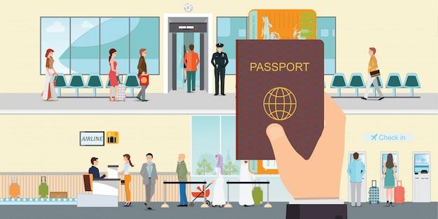 Hand, die passbuch und bordkarte hält. Premium Vektoren