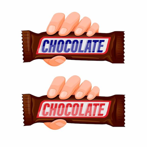 Hand, die schokoladen-snackbar-symbolsatzkonzept in der karikaturillustration im weißen hintergrund hält Premium Vektoren