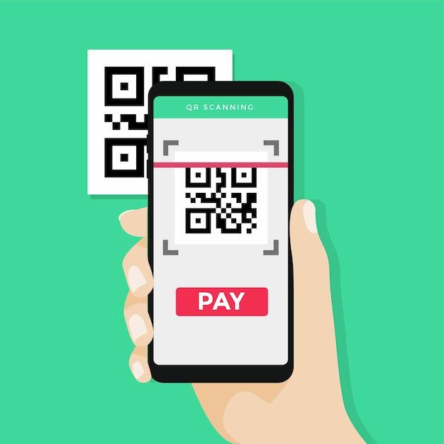 Hand, die smartphone hält, um qr-code zu scannen, um zu zahlen. Premium Vektoren