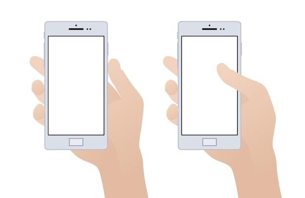 Hand, die smartphone mit leerem bildschirm hält Premium Vektoren