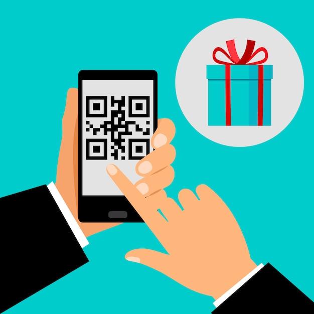 Hand, die smartphone mit qr-code hält Premium Vektoren