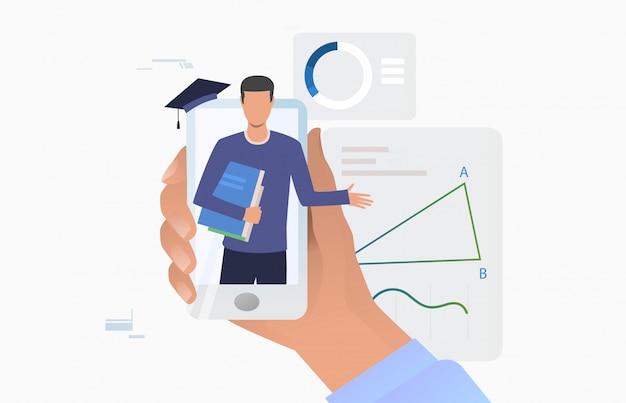 Hand, die smartphone mit tutor auf schirm hält Kostenlosen Vektoren