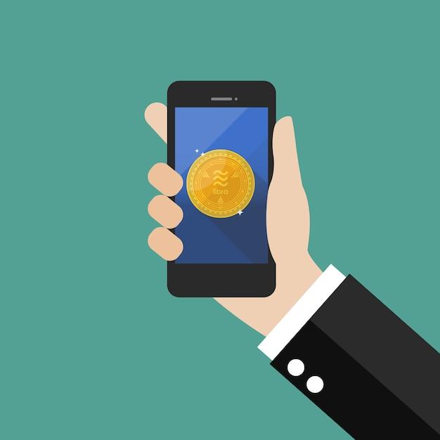 Hand, die smartphone mit waagewährung hält Premium Vektoren