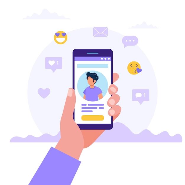 Hand, die smartphones mit mannfoto hält Premium Vektoren