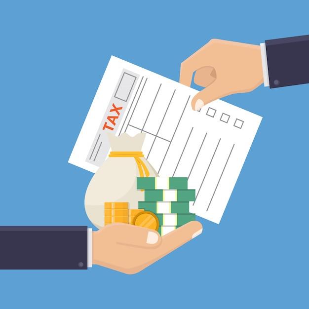 Hand, die steuerformular und geld hält Premium Vektoren
