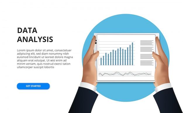 Hand, die tablette hält. geschäftsmann las datenanalysekalkulationstabelle für finanzbericht mit diagramm und diagramm Premium Vektoren