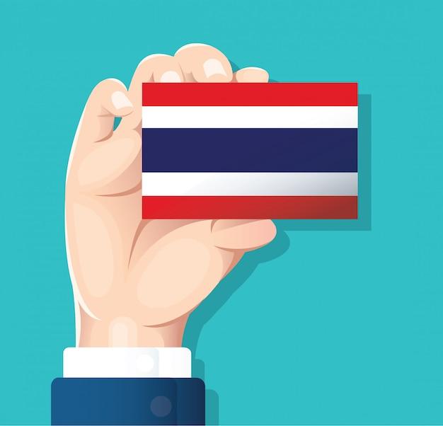 Hand, die thailand-flaggenkarte hält Premium Vektoren