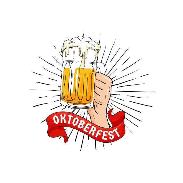 Hand, die volles glas bierillustration mit band hält Premium Vektoren