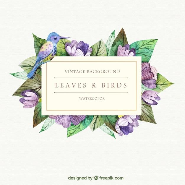 Hand gemalte Blätter und Vogel Hintergrund Kostenlose Vektoren