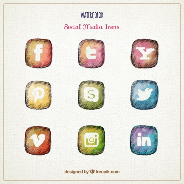 Hand gezeichnet aquarell social media icons Kostenlosen Vektoren