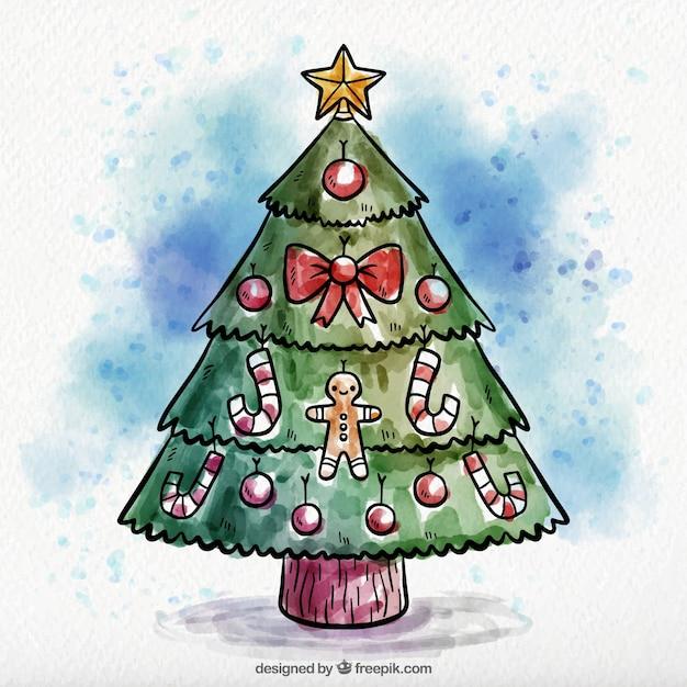 hand gezeichnet aquarell weihnachtsbaum hintergrund. Black Bedroom Furniture Sets. Home Design Ideas