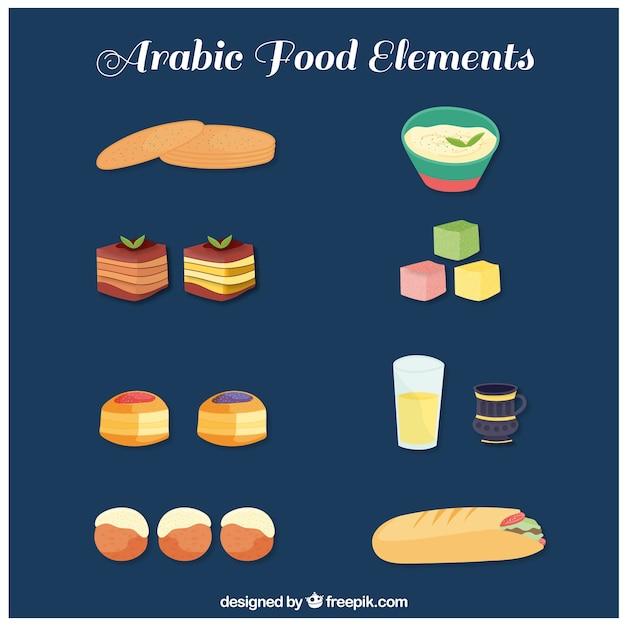 Hand gezeichnet arabische gastronomie sammlung Kostenlosen Vektoren