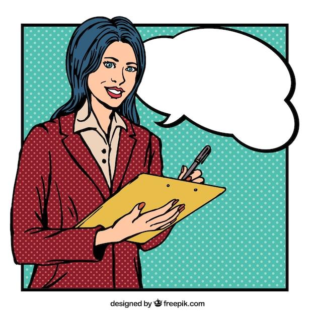 Hand gezeichnet Arbeitnehmer Frau im Comic-Stil Kostenlose Vektoren