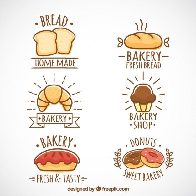Hand gezeichnet bäckerei logos Kostenlosen Vektoren