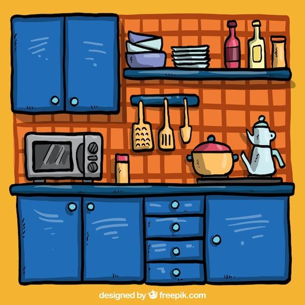 Hand gezeichnet blau küche  Kostenlose Vektor