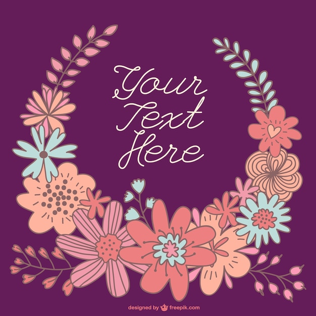 Hand gezeichnet Blumenkranz-Karte Vorlage   Download der kostenlosen ...