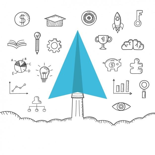 Hand gezeichnet Business-Symbole Design Kostenlose Vektoren