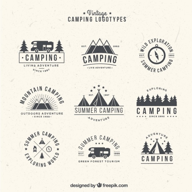 Hand gezeichnet camping logos im vintage-stil Kostenlosen Vektoren