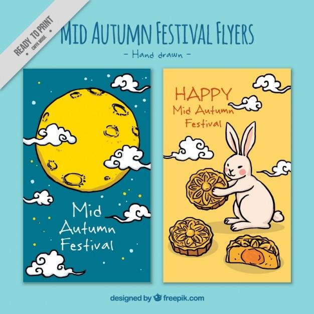 Hand gezeichnet dekorative broschüren von mid-autumn festival Kostenlosen Vektoren