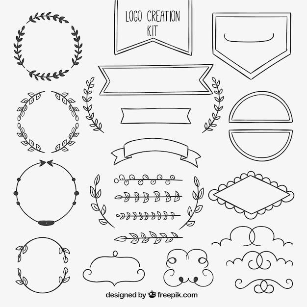 Hand gezeichnet dekorative Element Sammlung Kostenlose Vektoren