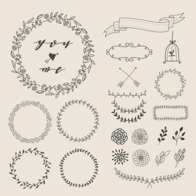 Hand gezeichnet dekorative elemente Kostenlosen Vektoren