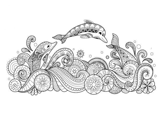 Hand gezeichnet delphin hintergrund Kostenlosen Vektoren