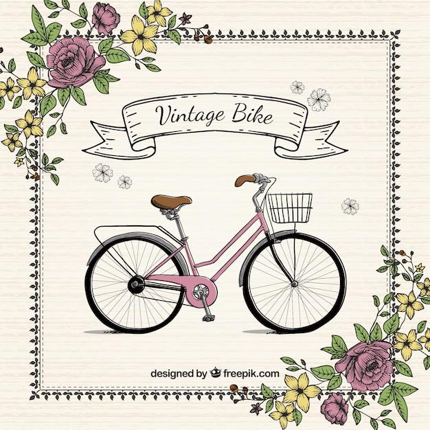 Hand gezeichnet fahrrad mit blumen jahrgang hintergrund Kostenlosen Vektoren