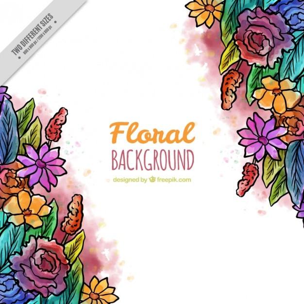 Hand gezeichnet farbige Blumen und Blätter Hintergrund | Download ...
