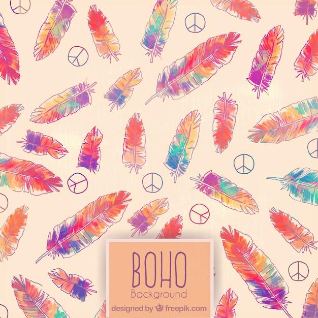 Hand gezeichnet farbige federn und hippie-symbol hintergrund Premium Vektoren