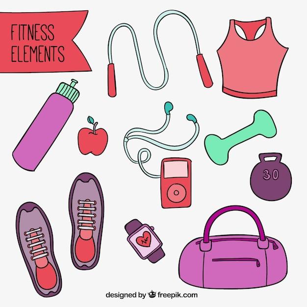 Hand gezeichnet fitnessgeräte Kostenlosen Vektoren