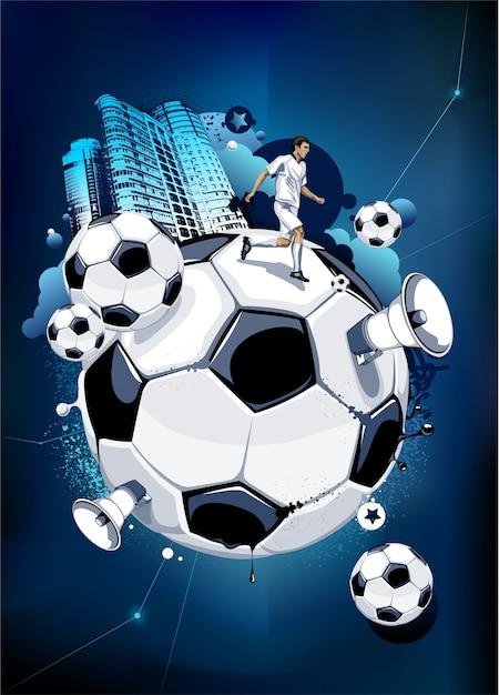 Hand Gezeichnet Fussball Hintergrund Kostenlose Vektor