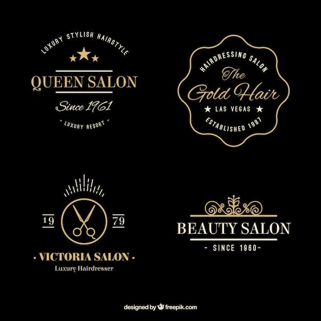Hand gezeichnet goldene elegante friseur logos Kostenlosen Vektoren