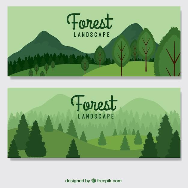 Hand gezeichnet grünen wald banner Premium Vektoren
