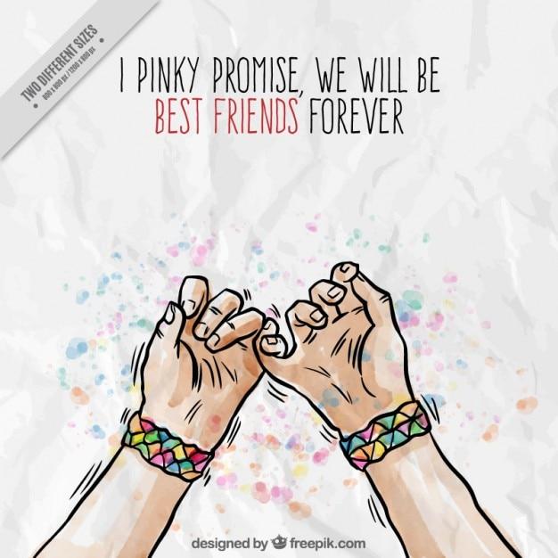 Hand Gezeichnet Hände Mit Dem Symbol Der Freundschaft Hintergrund Premium Vektor
