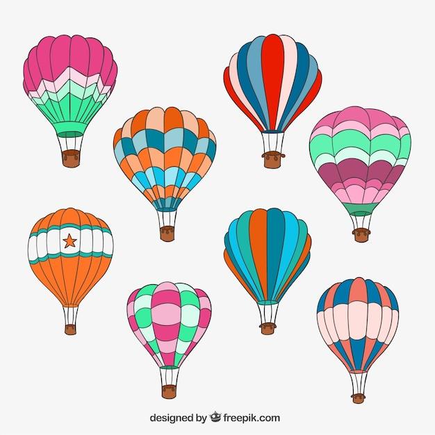 Hand gezeichnet Heißluftballons | Download der kostenlosen Vektor
