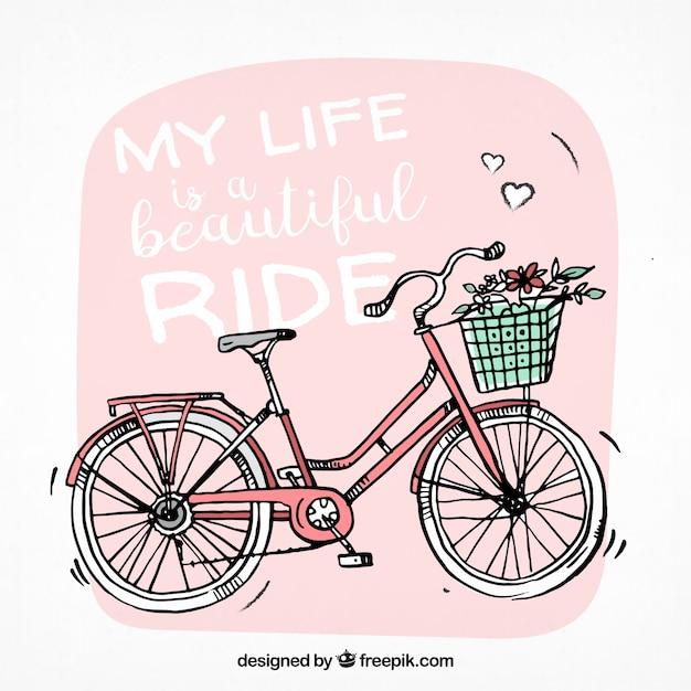 Hand gezeichnet hintergrund mit niedlichen fahrrad Kostenlosen Vektoren