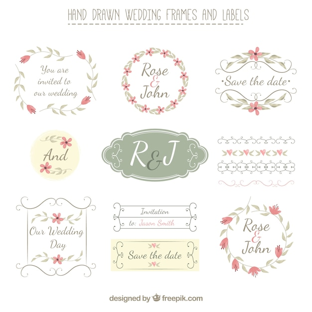 Hand gezeichnet Hochzeit Frames und Etiketten im Retro-Stil ...