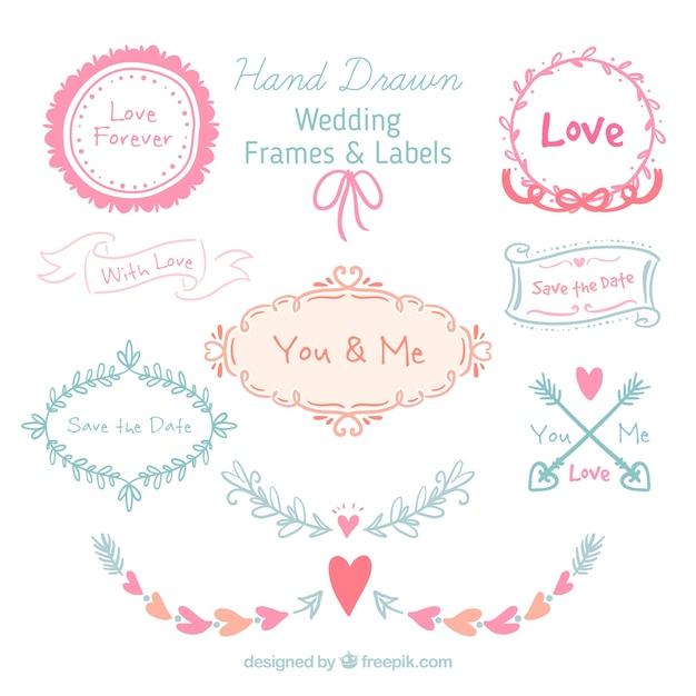 Hand gezeichnet Hochzeit Frames und Etiketten | Download der ...
