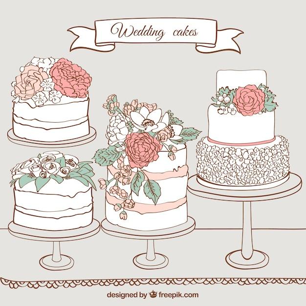 Hand Gezeichnet Hochzeit Kuchen Download Der Premium Vektor