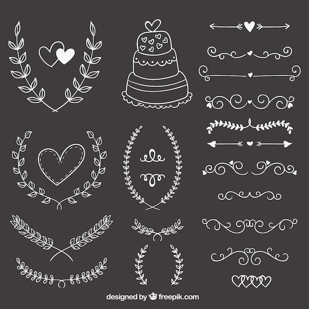 Hand Gezeichnet Hochzeit Ornamente Auf Tafel Download Der