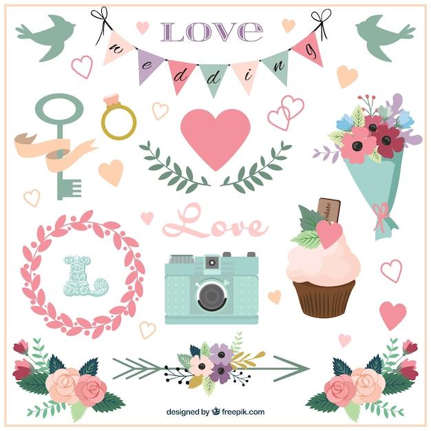 Hand gezeichnet Hochzeit Zubehör und Verzierungen   Download der kostenlosen Vektor