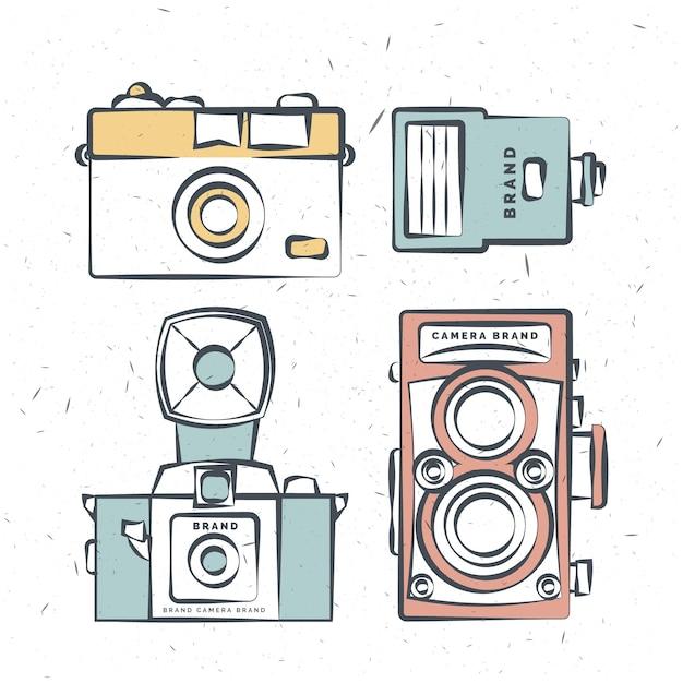 Hand gezeichnet jahrgang kameras in den farben Kostenlosen Vektoren